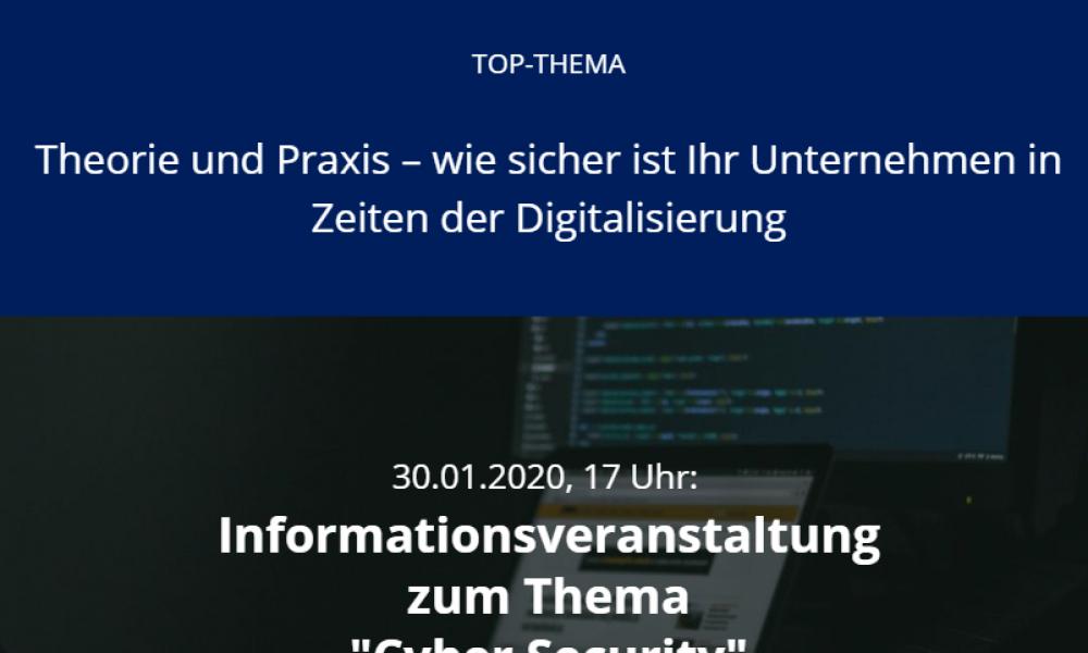 """Informationsveranstaltung zum Thema """"Cyber Security"""" am 30.01.2020"""